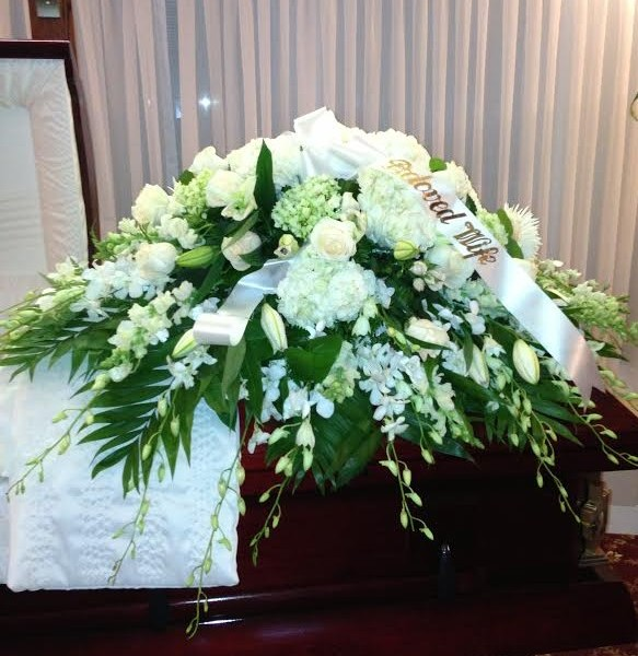 Funeral arrangements creative flowers by amodios all white casket piece mightylinksfo Choice Image